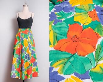 Vintage 1980's   JAEGER   Bright & Colorful   Floral   Midi   100% Cotton   Skirt   XXS-XS