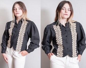 Vintage   1970's   Black   Lace Trim   Princess Sleeves   Button Down   Blouse   Top   M