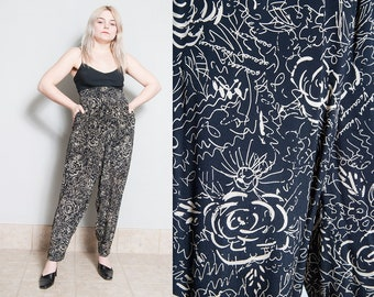 Vintage 1980's   Jaeger   Silky   High Waist   Patterned   Tapered   Pants   XS