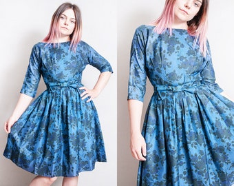 Vintage 1950's | Fit & Flare | Blue | Floral | New Look | Mid Century | Dress | XS