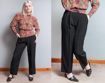 Vintage 1980's   Black   ESCADA   Textured   Pleated   High Waist   100% New Wool   Trouser   Pants   XS/S