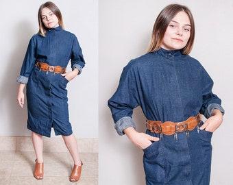 Vintage 1980's | Dark Denim | Dolman Sleeve | Jean | Dress | M