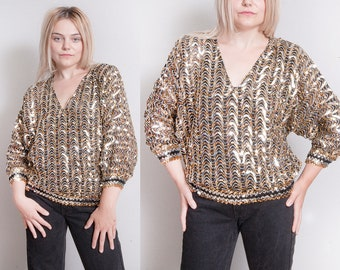 Vintage 1970's | Silver & Gold | Sequin | Disco | Sparkle | Glam | Pullover | Top | S/M