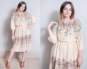 Vintage 1970's | Floral | Printed | Patterned | Bohemian | Dress | M
