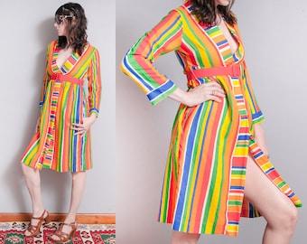 Vintage 1970's | Colorful | Rainbow | Striped | Empire Waist | Wrap | Dress | S