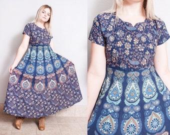 Vintage 1970's | Blue | India Cotton | Maxi | Dress | M