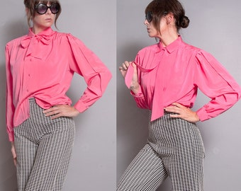 Vintage 1980's | Ascot Collar | Hot Pink | Button Down | Pleated | Blouse | S