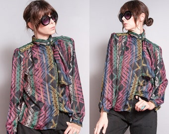 Vintage 1970's/1980's | Printed | Patterned | Black | Ascot Collar | Blouse | M