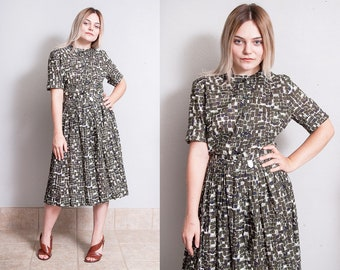 Vintage 1950's   Cotton   Printed   Patterned   Mid Century   New Look   Dress   L