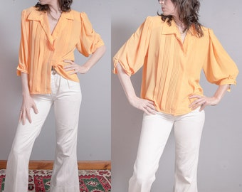 Vintage 1980's   Bright Yellow   Pleated Bodice   Button Down   Blouse   Top   M