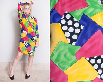 Vintage 1980's/1990's | Colorful | 100% Silk | Abstract | Printed | Patterned | Dress | Medium or OS Small