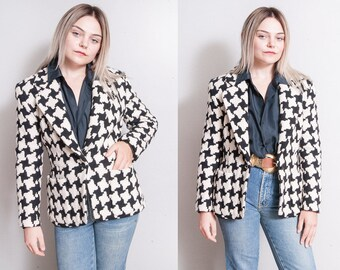 Vintage 1990's | DKNY | Houndstooth | 100% Wool | Fitted | Blazer | Jacket | S