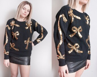 Vintage 1980's | Black | Gold Sequin | Ribbon | Holiday | Pullover | Sweater | S/M