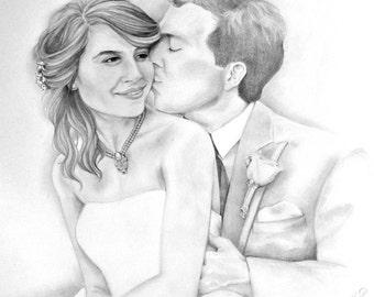 Custom drawn wedding portrait