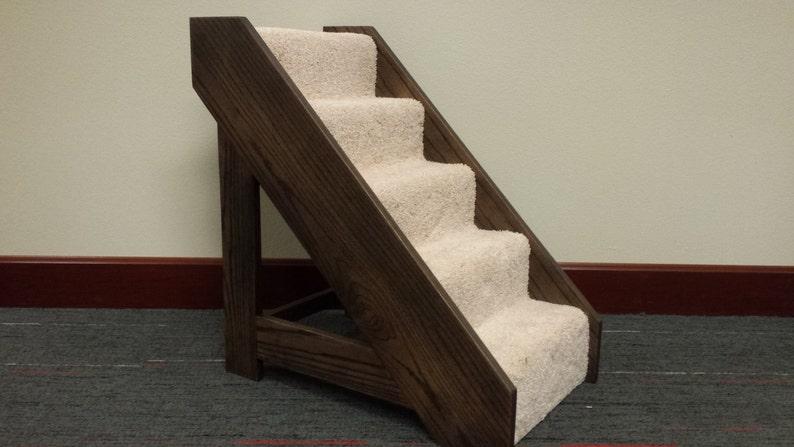 Wood Pet Steps with Carpet Runner image 0