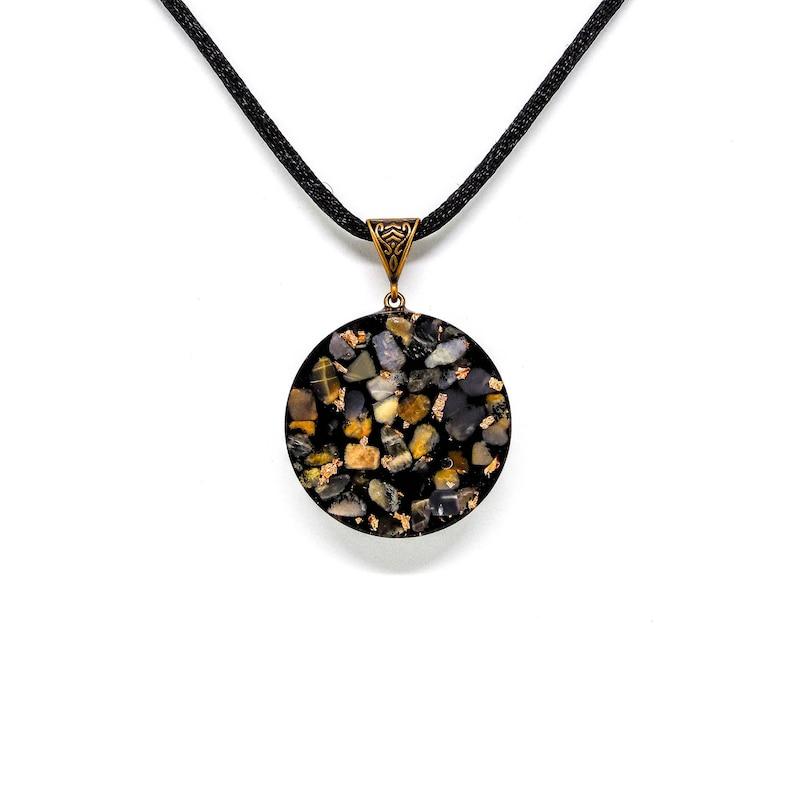 Black Tourmaline Ancient Solfeggio Orgone Necklace Archangelic Frequency Galactic Copper Orgone Pendant 432 Hz Moonstone