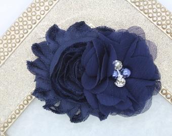 Navy blue flower girl hair clip, navy blue flower girl bow, navy blue wedding hair clip, toddler navy blue hair bow navy blue hair clip