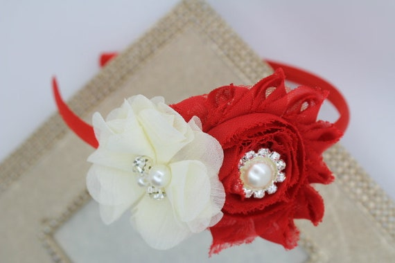 Red and ivory headband red headbands ivory flower girl  d7a7629497b