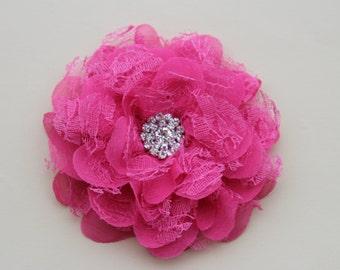Hot pink hair clip, bright pink flower girl hair clip, pink bridesmaid hair flower hot pink hair piece pink flower girl headband wedding