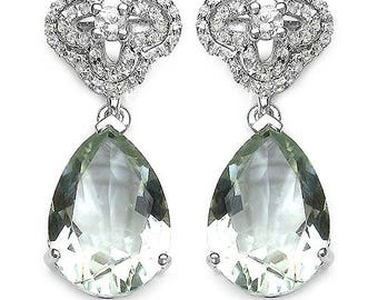 9.14 Carat Genuine Natural AAA Green Amethyst and White Topaz .925 Sterling Silver Earrings Super Fine Quality and Design!