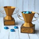 SVG File: 3D Paper Trophy Gift Box / Treat Holder / Party Favor SVG Cut File   Father's Day SVG   Instant Digital Download
