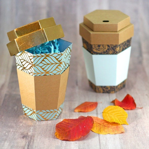 SVG File: 3D Paper Coffee Cup Gift Box / Treat Holder / Favor Box | Coffee Cup SVG | Instant Digital Download