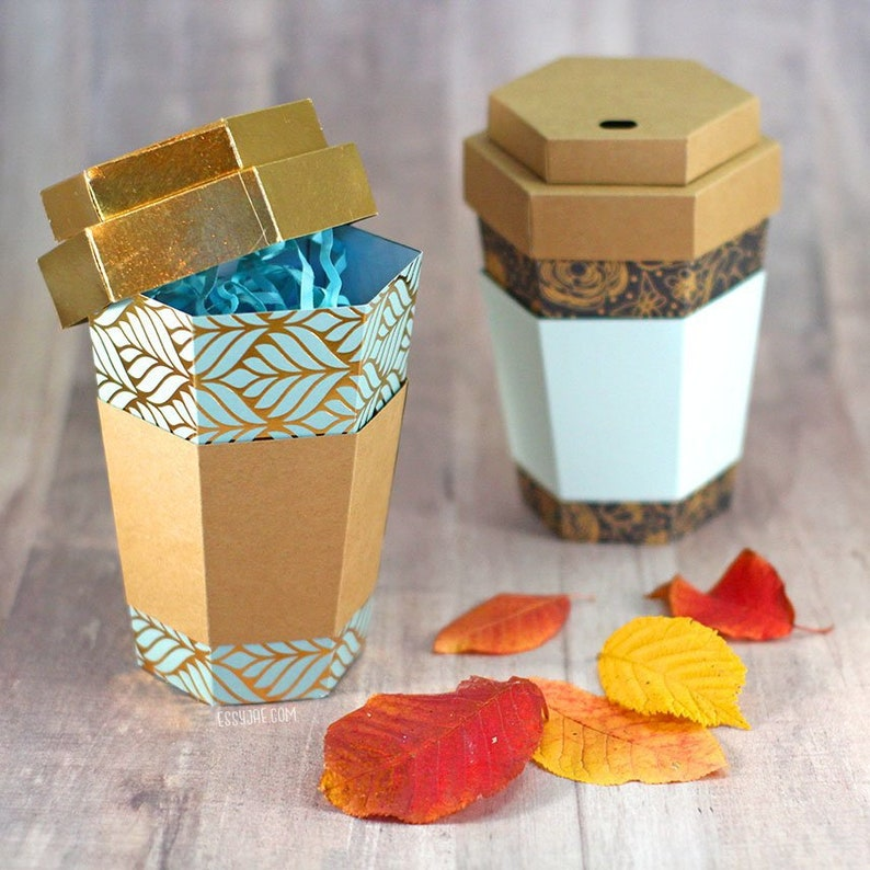 SVG File: 3D Paper Coffee Cup Gift Box / Treat Holder / Favor image 0