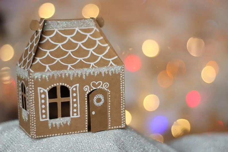 SVG File: Mini Gingerbread House Gable Box SVG Cut File image 0