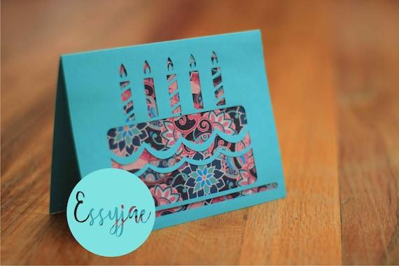 Svg File Birthday Cake Cutout Style Birthday Card Etsy