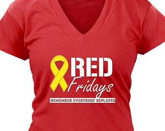 Red Fridays Remember Everyone Deployed Ladies V-Neck Shirt