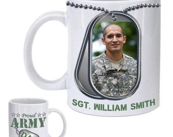 Personalized Proud Army Dad Photo Mug