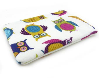 Zipper Pouch, Small Pouch, Zipper Bag, Padded, Little Pouch, Travel Pouch, Owl Pouch, Colorful Owls, White, Owl Gift, Owl Lovers