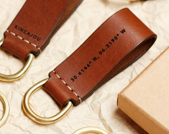 Leather Keyring, Personalized Key Ring, Personalised, Leather Keychain, Key Fob, Australian, Solid Brass, Paterson Salisbury, Black & Brown