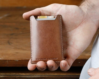 Kangaroo Leather Card Holder, Personalized, Cardholder, Australian, RFID, Light Brown, Mocha, Money Clip, Slim, Thin Card Wallet