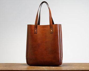 Leather Tote Bag, Medium, Minimal, Stylish, Australian, Award Winning, Laptop Bag, Folio, Leather Shoulder Bag, Macbook, Brown