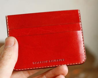 Leather Card Holder Wallet, Kangaroo, Personalized, Minimal, Australian, Red, , Small Wallet, Cardholder, Slim Wallet, Thin Card Wallet