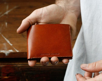Kangaroo Leather Wallet Classic, Australian, Mens Gift, Chestnut Brown, Tan, Hand Stitched, Billfold Wallet, Leather Wallet, Personalized
