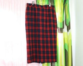 c0fcd0f36 60's Green + Red Tartan School Skirt Pleated High Waist Midi Wool
