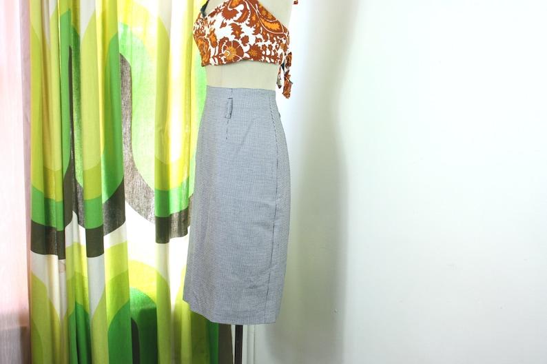 90/'s Hounds Tooth High Waist Pencil Skirt