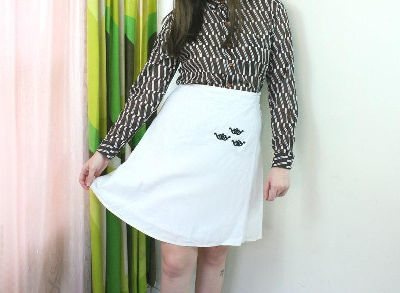 90/'s White Linen Tennis Skirt