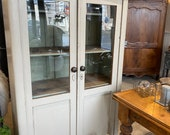 Antique French pine painted cream glass front cabinet