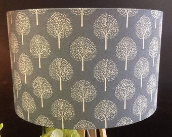 Trees / Leaves / Leaf / Floral Lampshade, Grey & Cream Lampshade, Drum, Linen Lamp, Handmade in Australia,