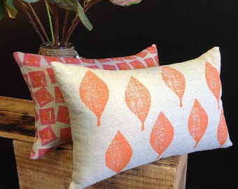 Orange LeafLeaves Linen CushionPillow