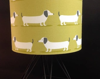 Lampshade etsy lampshade whiteblack dogs limechartreuse cotton shade childrens two sizes available mozeypictures Image collections