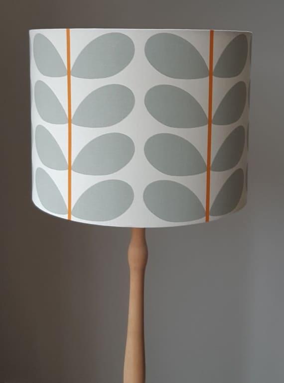 Orla Kiely Leaf Grey Orange Drum, Large Drum Lamp Shade Grey