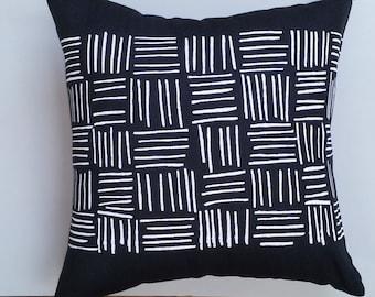 White Screen Printed Lines/Stripes on Black European Linen Cushion / Pillow Cover, Australian Made