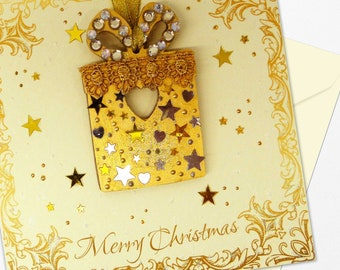 Detachable Tree Decoration Card Luxury Handmade Christmas Card Personalised Option Sumptuously Handcrafted Individual Special Christmas Card