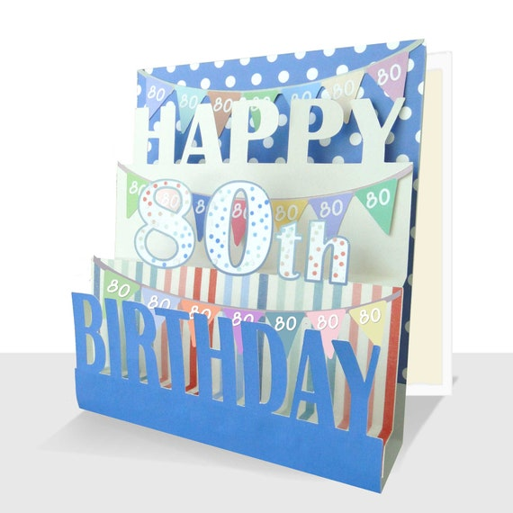 Pop Up Birthday Card-Personalised Option-Neutral Colours Happy Birthday Card for him or her-Luxury 3D Card-Handmade Birthday Male or Female