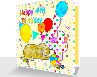 Fun 4th Birthday Card : Fun Design With Dog, Ball And Balloons-Birthday Banner Child's Birthday Fourth Birthday Card for Boy or Girl