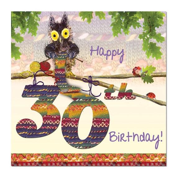 Happy 30th Birthday Card Owl Knitting Fine Art Blank
